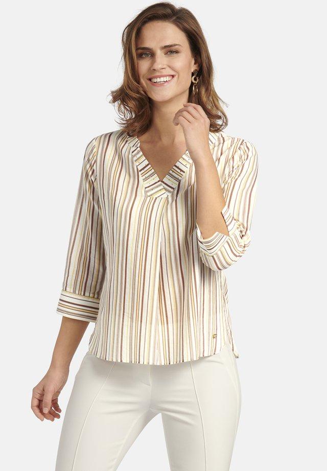 MIT GESTREIFTEM MUSTER - Long sleeved top - beige