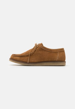 LEATHER - Casual lace-ups - cognac