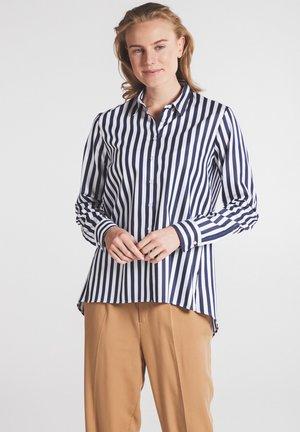 Button-down blouse - marine weiß