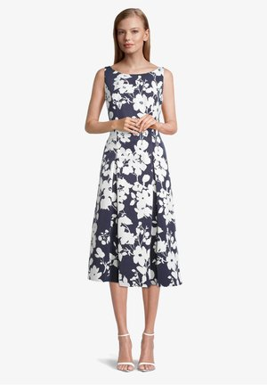 MIT BLUMENPRINT - Cocktail dress / Party dress - dark blue/cream
