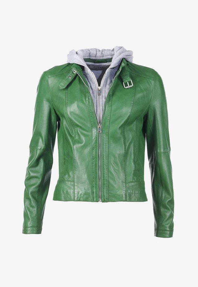 IN AUFFÄLLIGER FARBE - Leather jacket - grün