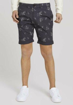 Shorts - navy shredded flower print
