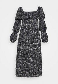 SQUARE NECK MIDI DRESS FLORAL - Day dress - black