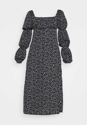 SQUARE NECK MIDI DRESS FLORAL - Korte jurk - black