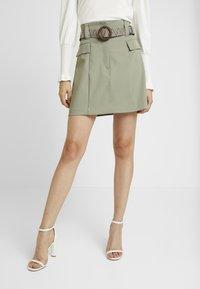 River Island - BETRIE BELTED - A-line skirt - khaki - 0
