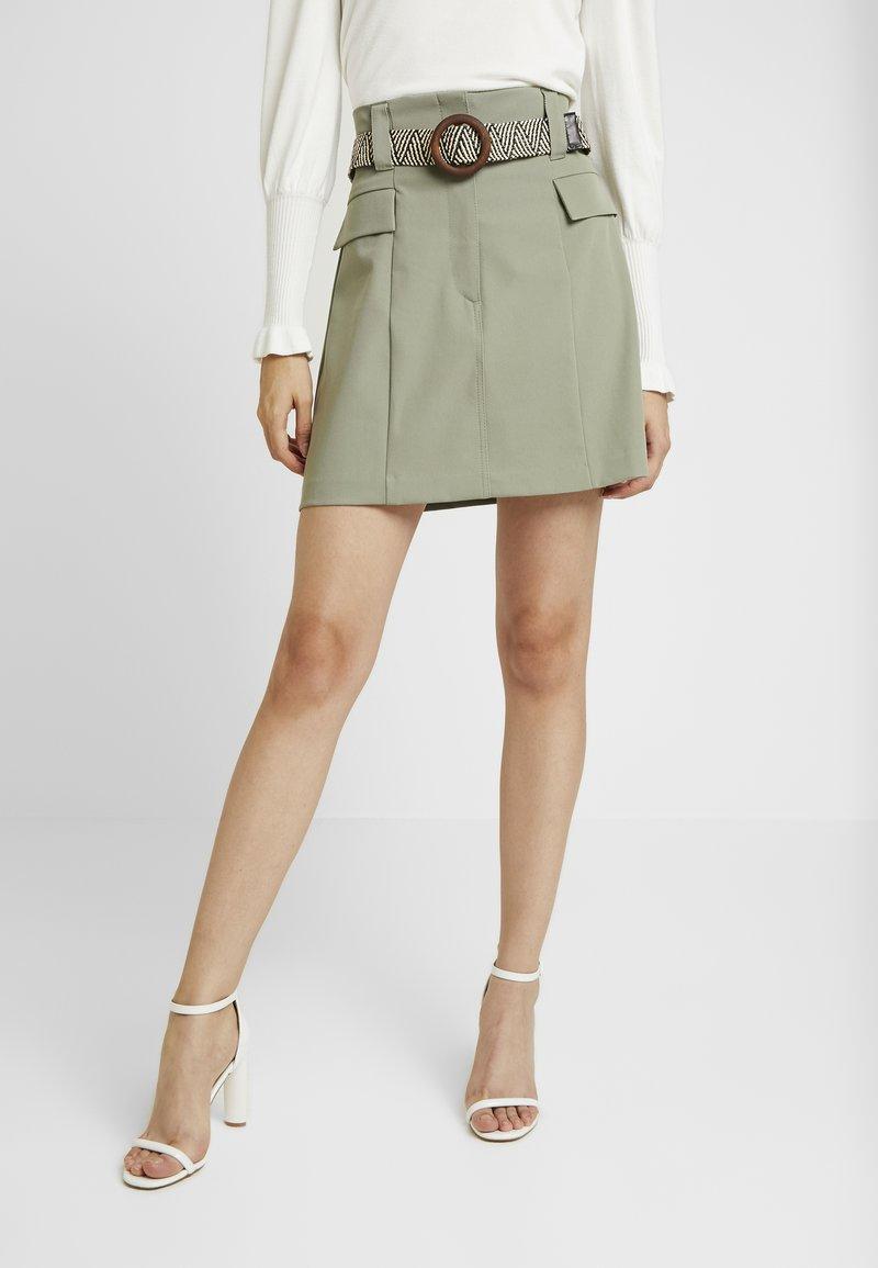 River Island - BETRIE BELTED - A-line skirt - khaki