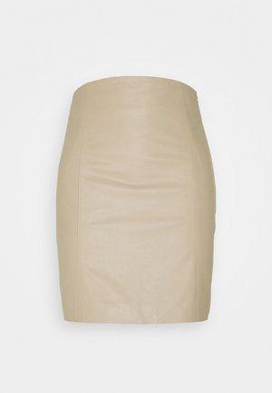 ELECTRA - Kožená sukně - chickpea
