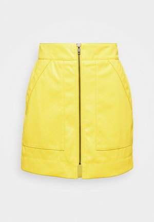 ZIP FRONT - Mini skirt - chartreuse