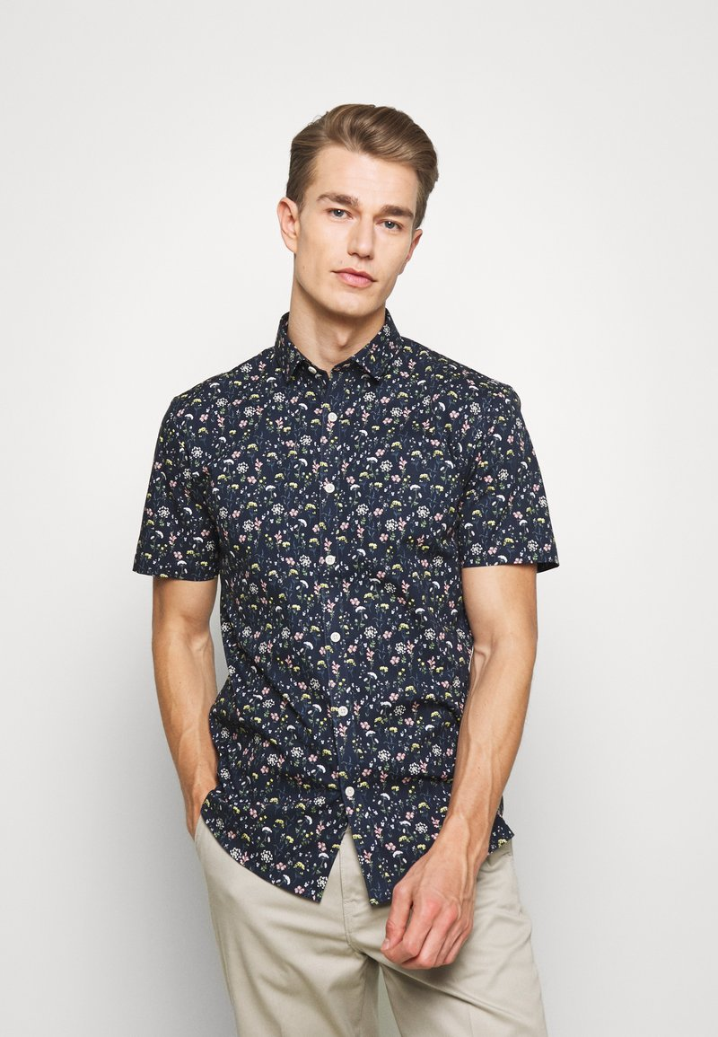 Lindbergh - FLORAL STRETCH SHIRT - Skjorta - dark blue