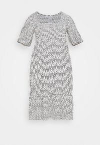 Simply Be - WAFFLE SQUARE NECK TIERED MIDI DRESS - Day dress - off-white - 5