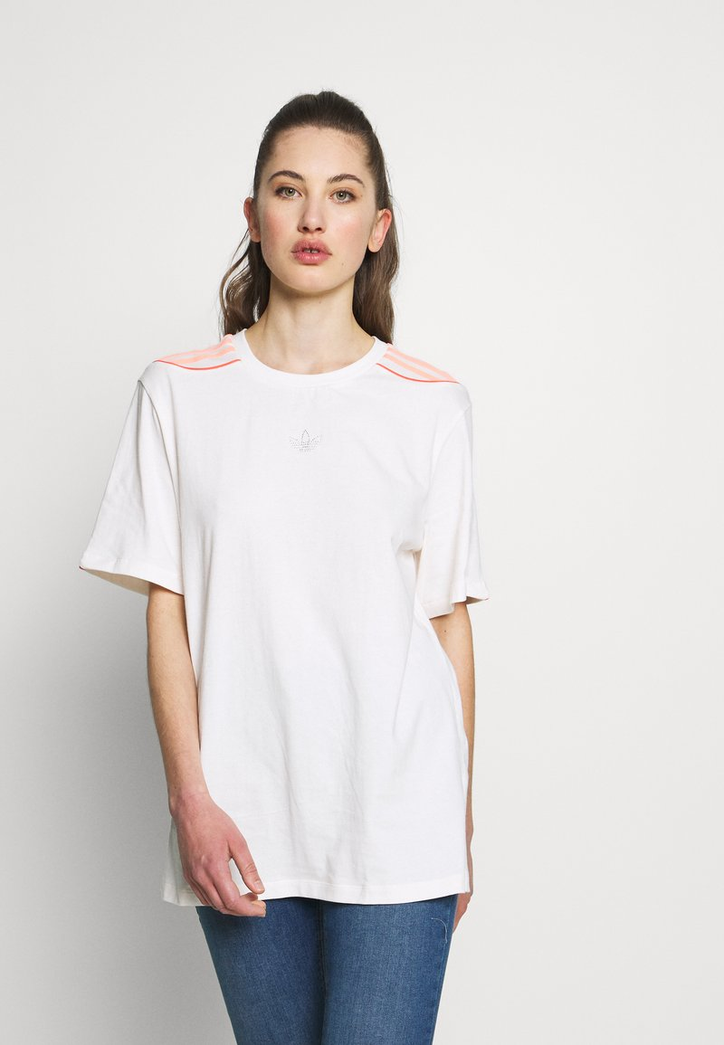 adidas Originals - FAKTEN TREFOIL SHORT SLEEVE TEE - Print T-shirt - chalk white