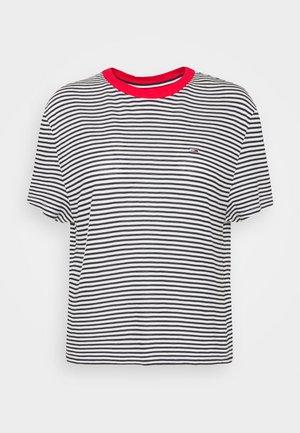 TEXTURE FEEL TEE - Print T-shirt - twilight navy/white
