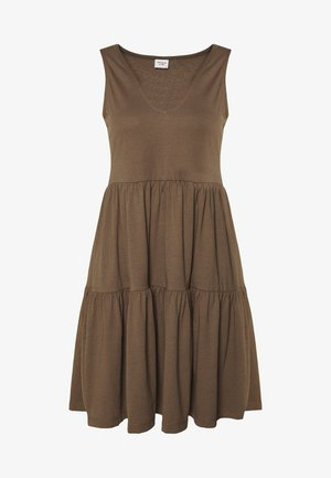 JDYFENNA LIFE V NECK DRESS - Jersey dress - dark brown