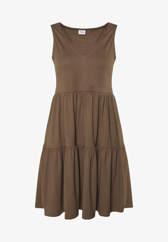 JDYFENNA LIFE V NECK DRESS - Žerzejové šaty - dark brown