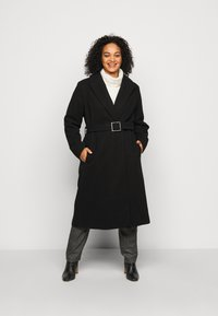 Dorothy Perkins Curve - CURVE BELTED WRAP COAT - Abrigo - black - 0