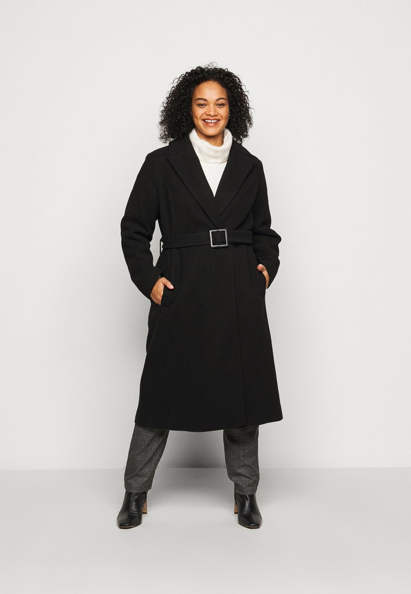 Dorothy Perkins Curve - CURVE BELTED WRAP COAT - Abrigo - black