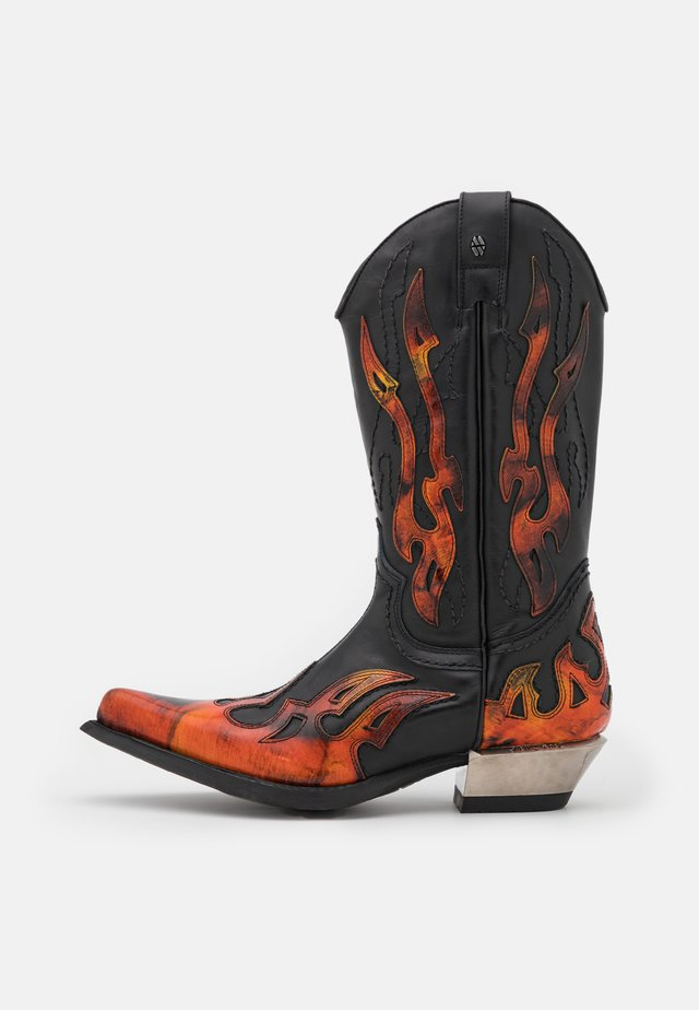 UNISEX - Cowboy/Biker boots - black/fire