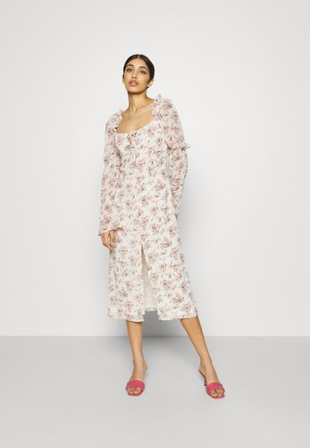 FLORAL FRILL SHOULDER TIE DRESS