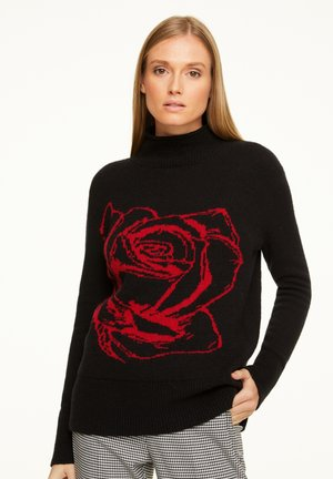 Jumper - black rose intarsia