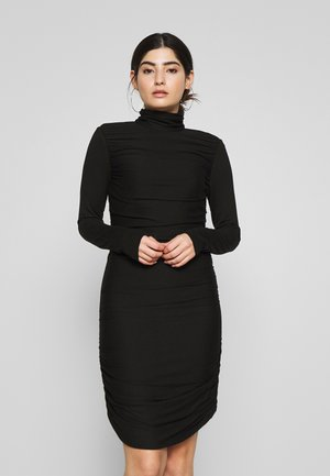 RUCHED DETAIL BODYCON MIDI DRESS - Pouzdrové šaty - black