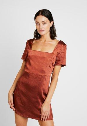 SQUARE NECK SKATER DRESS - Day dress - chocolate