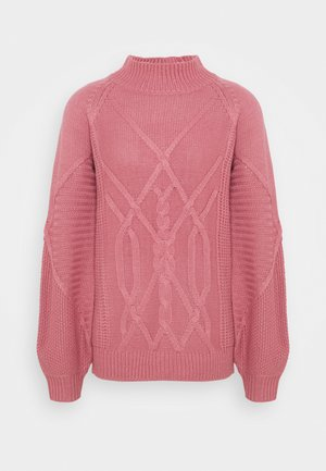 CABLE HIGH NECK JUMPER - Jersey de punto - pink