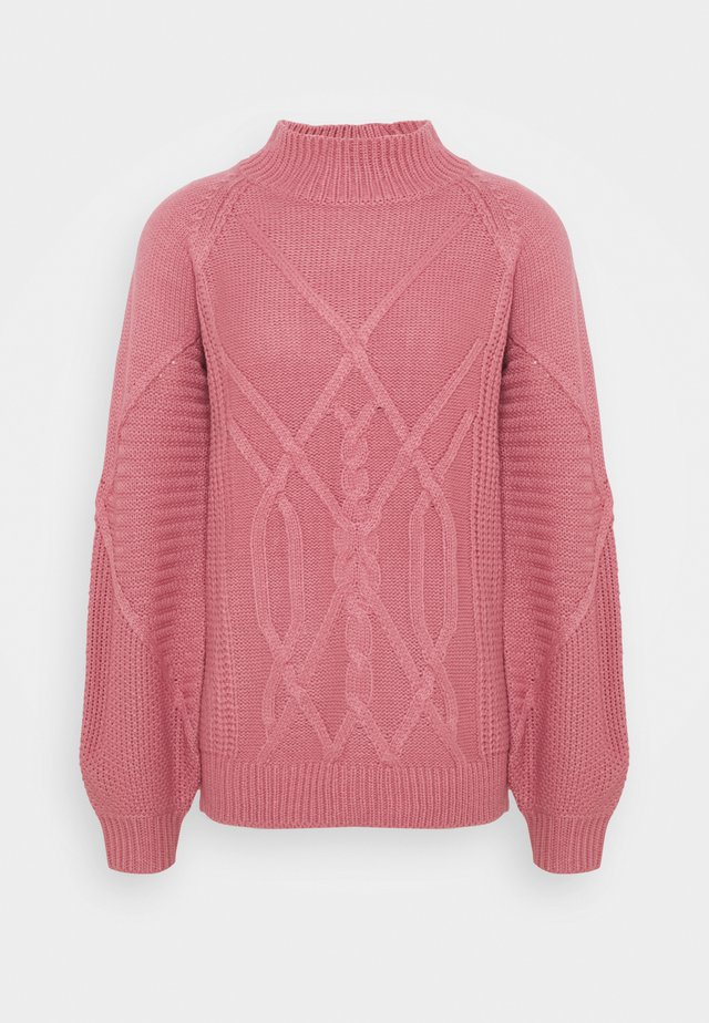 CABLE HIGH NECK JUMPER - Trui - pink