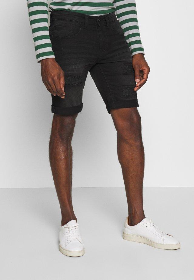 KADEN HOLES - Shorts di jeans - ultra black