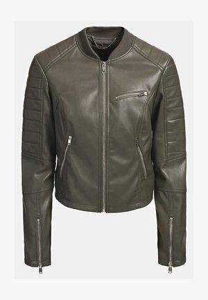 RIPP-KRAGEN - Faux leather jacket - dunkelgrün