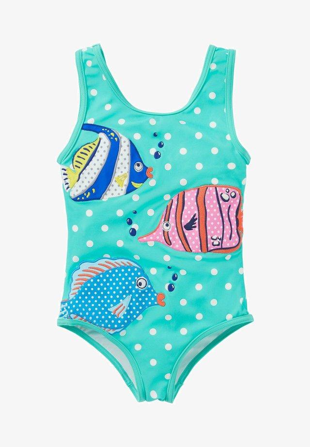 MIT APPLIKATION - Swimsuit - grün/naturweiß, getupft/fische