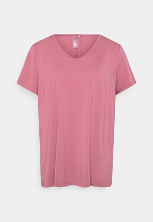 ONPBAKO V NECK TRAINING TEE CURVY - Print T-shirt - mesa rose