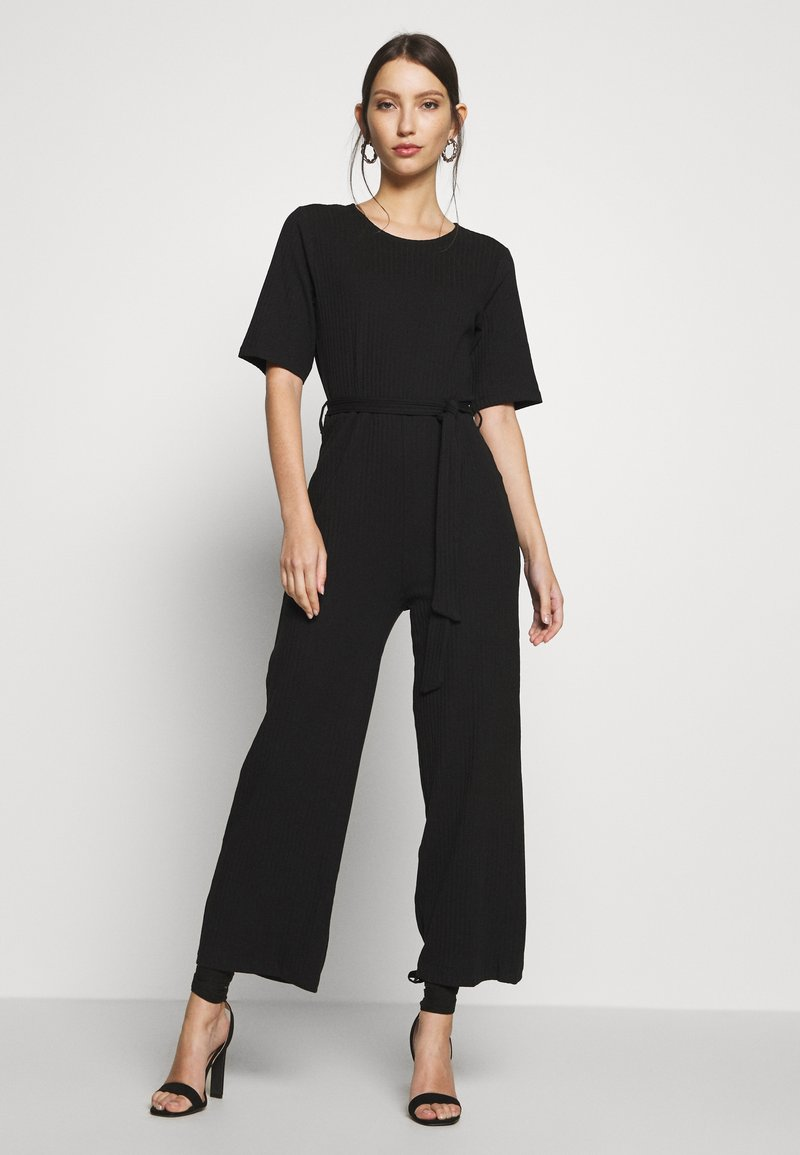Even&Odd - BASIC - Ribbed short sleeves belted jumpsuit - Jumpsuit - black