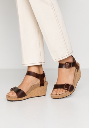 SOLEY - Platform sandals - cognac