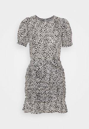 SPOT RUCHED DRESS - Day dress - white/black