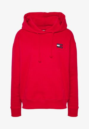 BADGE HOODIE - Bluza z kapturem - deep crimson