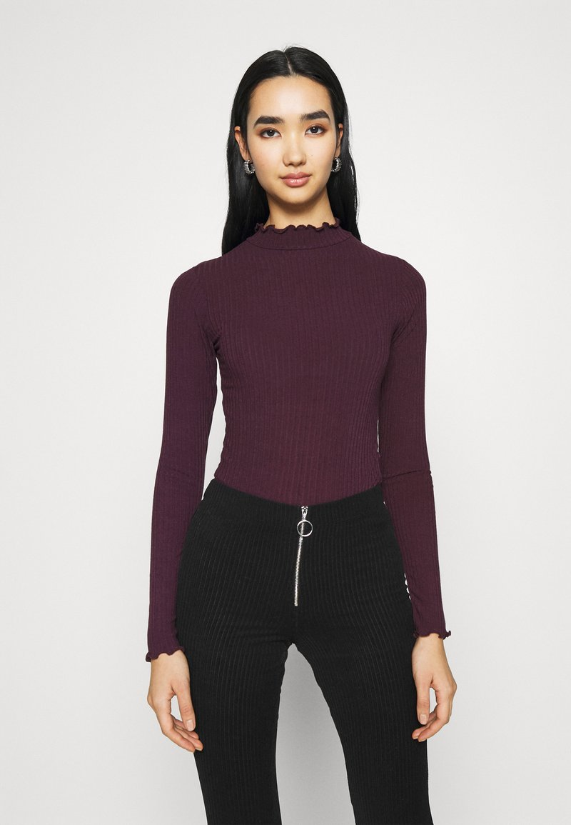 New Look - TURTLE NECK BODY - Long sleeved top - dark burgundy