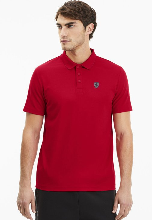 PUMA SCUDERIA FERRARI SHORT SLEEVE MEN'S POLO SHIRT MALE - Polo - rosso corsa