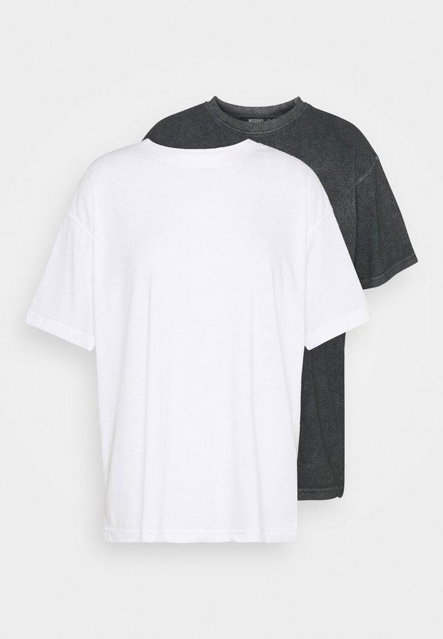 DROP SHOULDER OVERSIZED 2 PACK - Jednoduché triko - black
