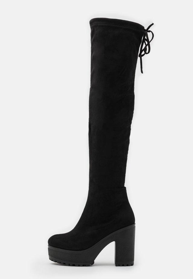 VEGAN - Kozačky na vysokém podpatku - black