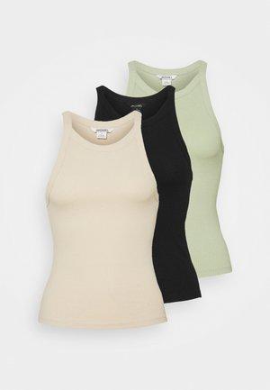 3 PACK - Top - light beige/dusty green/black
