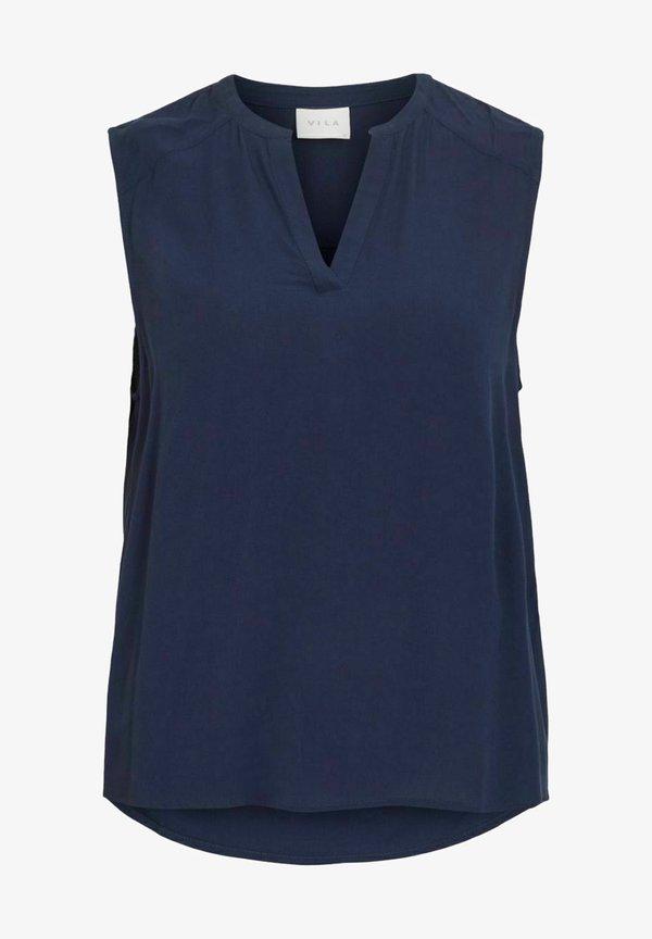 Vila SLEEVELESS - Bluzka - navy blazer/niebieski TLOL