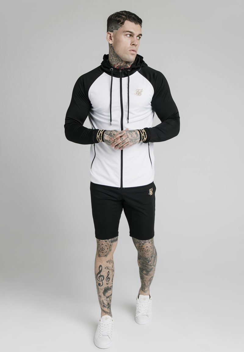 SIKSILK - SCOPE ZIP CONTRAST THROUGH HOODIE - Vest - black/white