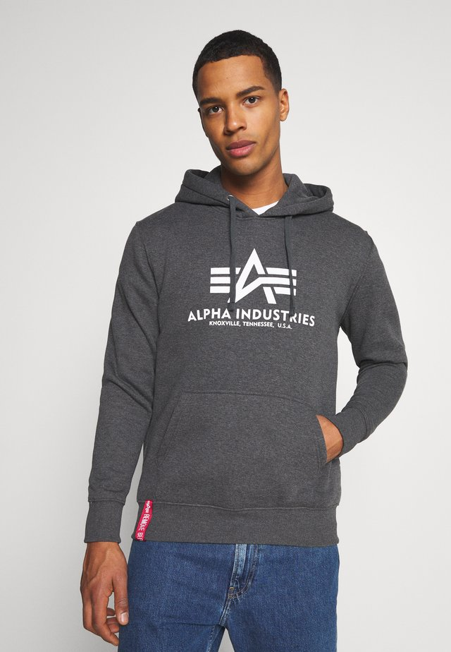 BASIC HOODY - Sweatshirt - charcoal heather/white