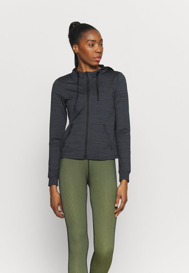 ONPORLANA ZIP HOOD - veste en sweat zippée - black melange