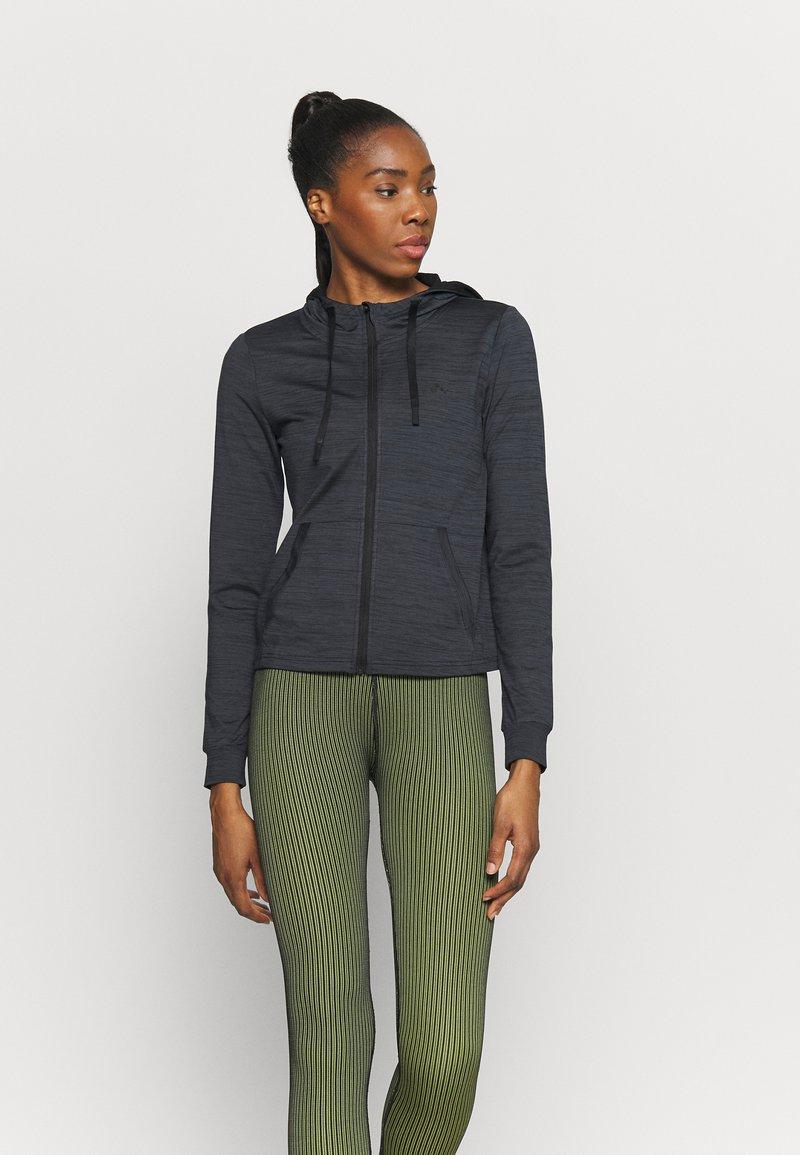 ONLY Play - ONPORLANA ZIP HOOD - Zip-up sweatshirt - black melange
