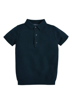 NAVY TEXTURED KNITTED POLO (3-16YRS) - Polo shirt - blue