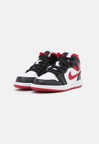 Jordan - 1 MID UNISEX - Basketball shoes - white/gym red/black