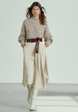 Pleated skirt - stone