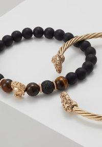 Burton Menswear London - LION BANGLE AND BEADS - Armband - gold-coloured/black - 4