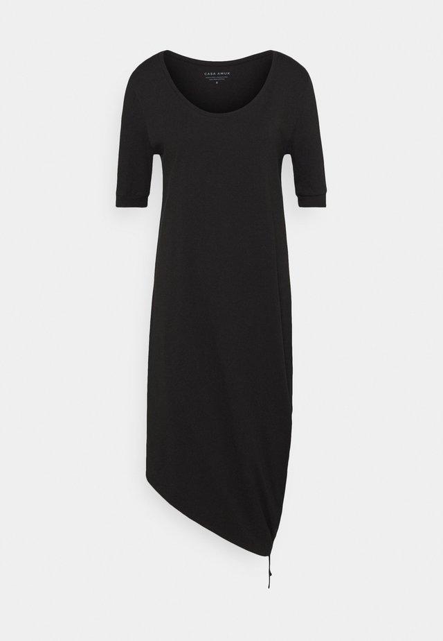HALF SLEEVE DRAWSTRING DRESS - Vestito di maglina - black